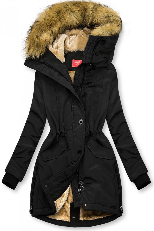 Winterjacke mit hohem Kragen schwarz. -warmes Plüsch-Futter - nicht abnehmbare Kapuze -mit abnehmbarem Kunstfellbesatz -vorne mit Reißverschluss und normaler Knopfleiste - einstellbarer Tunnelzug im Teillenbereich - 2 Taschen - Material: 100% Polyester
