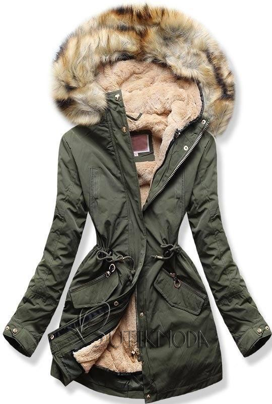 Winter Parkajacke mit Kapuze khaki
