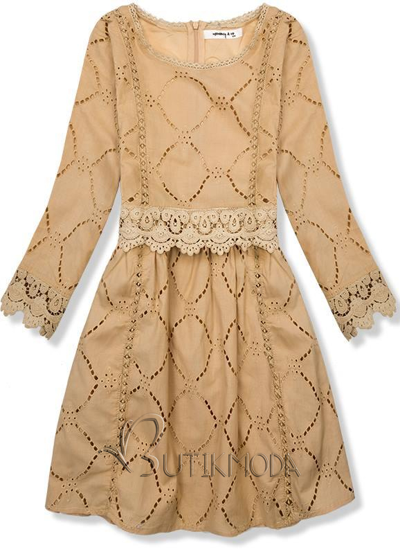Kleid mit Spitze und Stickerei karamell