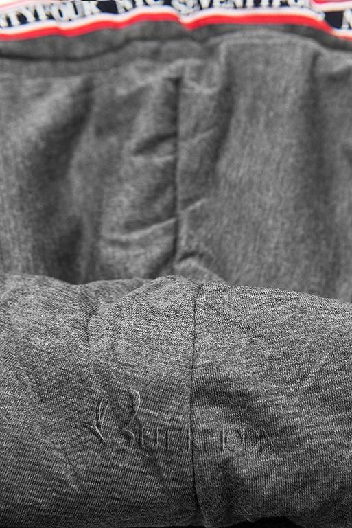 Verlängerte Sweatjacke mit Kapuze schwarz/anthrazit