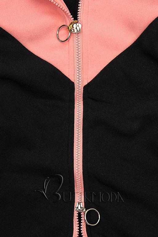 Sweatjacke in langer Form schwarz/aprikose/grau
