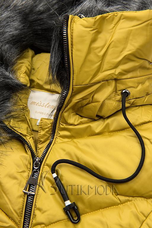 Gesteppte Winterjacke mit hohem Kragen mustard
