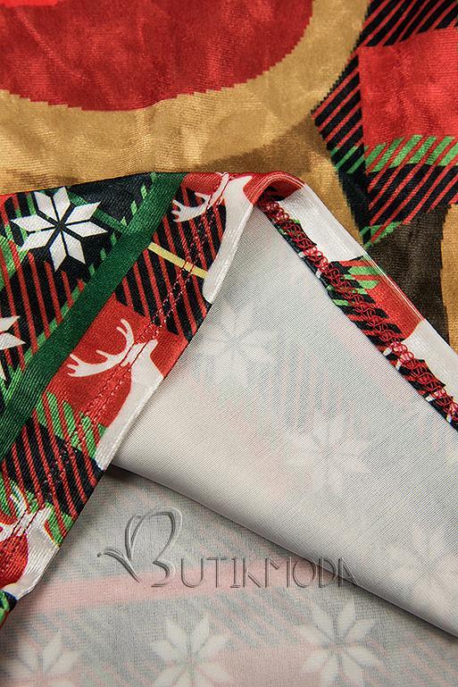Velourskleid mit Weihnachts-Print und mit Karomuster