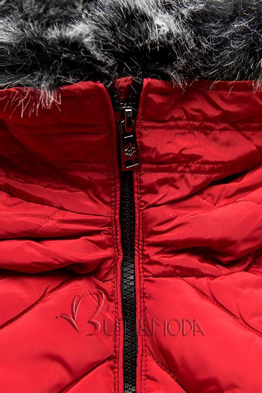 Winter Steppjacke mit Kapuze rot
