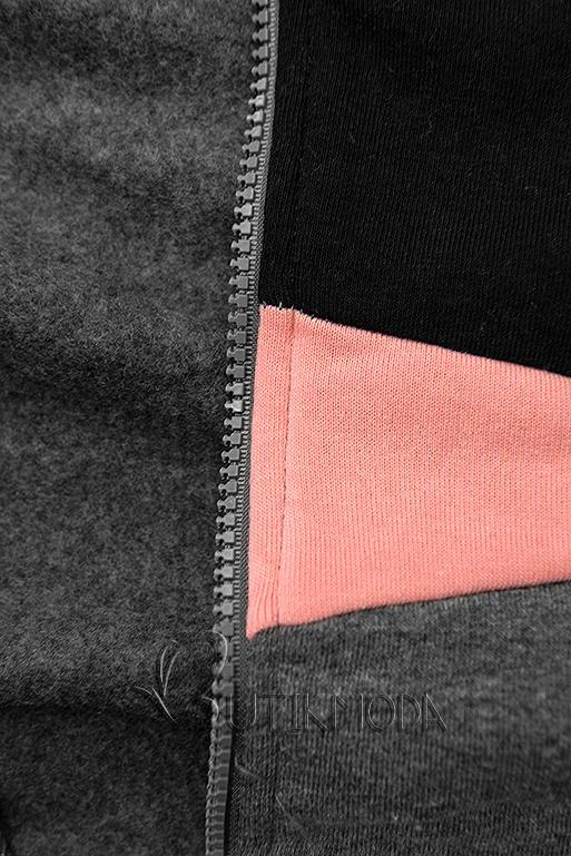 Erweitertes Sweatshirt mit Blumenmuster Graphit