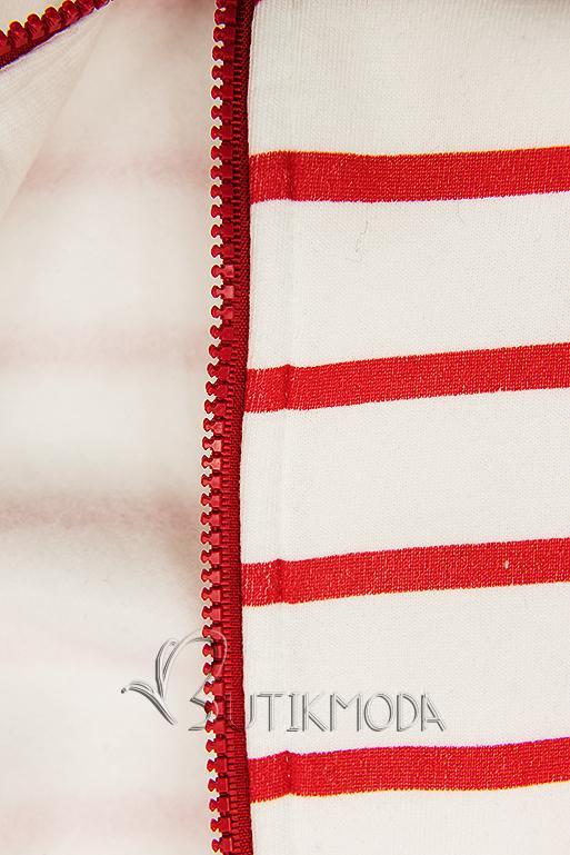 Sweatjacke in Streifenoptik weiß/rot