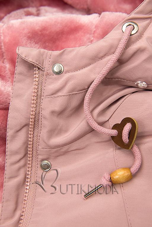 Kurzparka mit Futter-Plüsch rosa