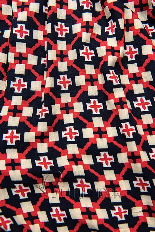Shorts mit Alloverprint blau/rot