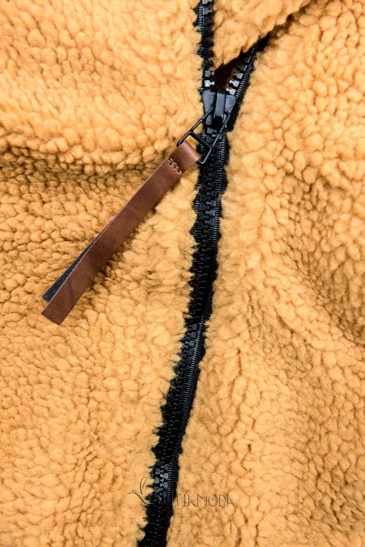 Winter Sweatjacke mit Kunstpelz gelb/schwarz
