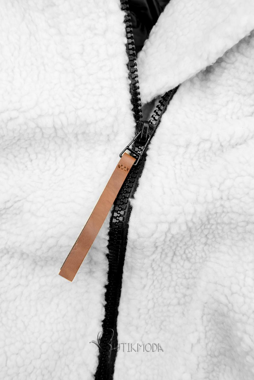 Winter Sweatjacke mit Kunstpelz weiß/schwarz