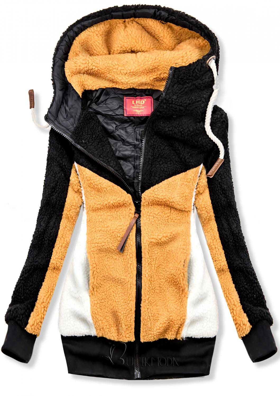 Jacke mit Kunstpelz schwarz/gelb