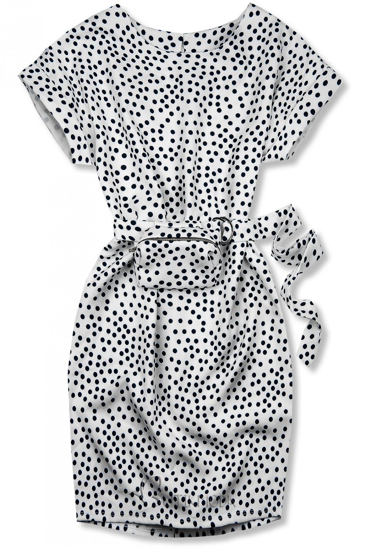 Weißes gepunktetes Kleid mit Tasche in der Taille