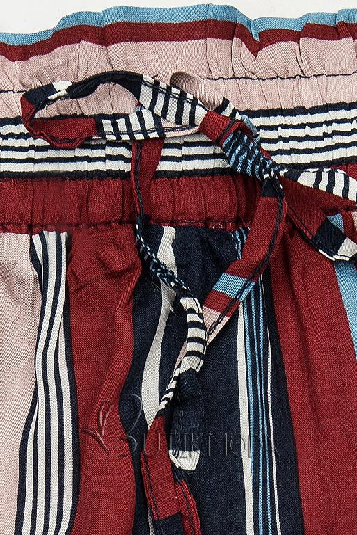Shorts mit Spitzensaum blau/weinrot
