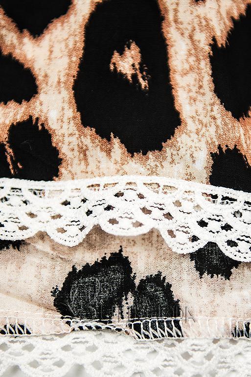 Shorts mit Animal-Print beige