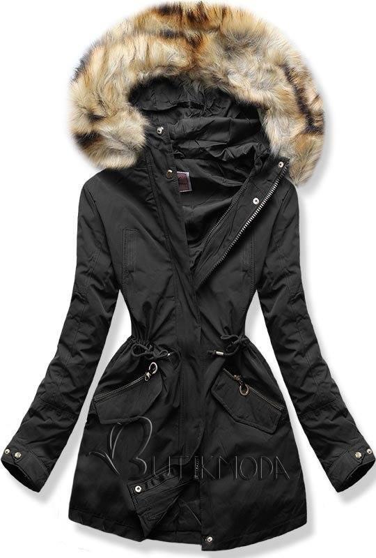 Winter Parkajacke mit Kapuze schwarz