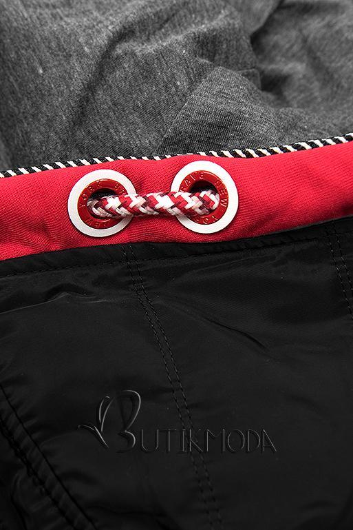 Sportliche Sweatjacke rot/schwarz