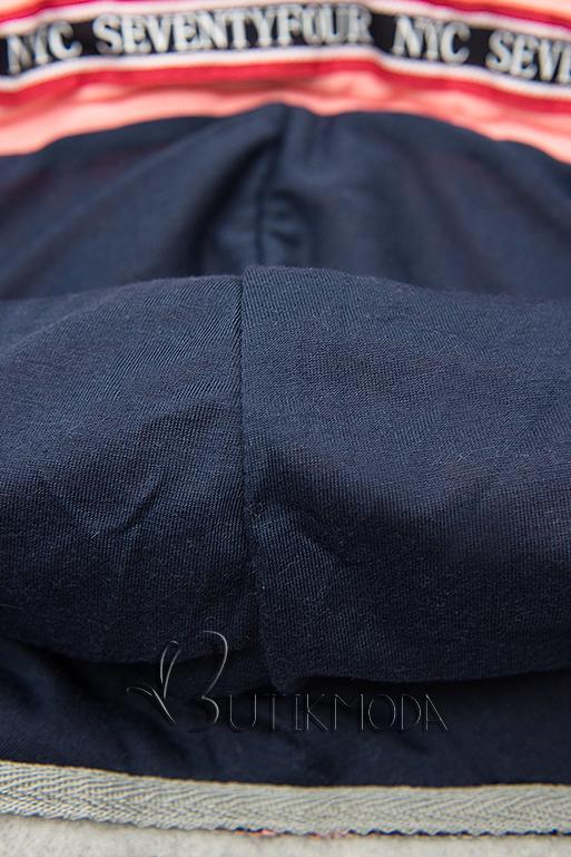 Verlängerte Sweatjacke mit Kapuze grau/dunkelblau