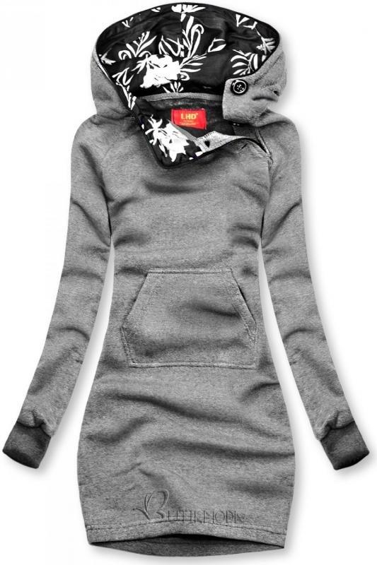 Verlängerte Sweatshirt/Sweatkleid mit Kapuze anthrazit