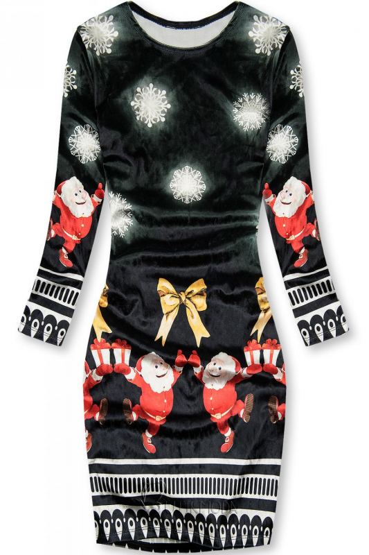 Velourskleid Santa schwarz