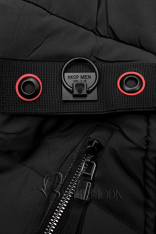 Gesteppte Jacke mit Kapuze schwarz