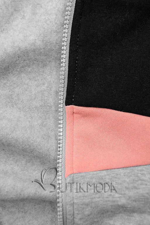Erweitertes Sweatshirt mit Blumenmuster grau