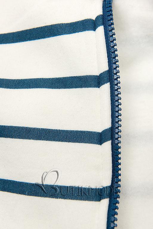 Sweatjacke in Streifenoptik weiß/blau