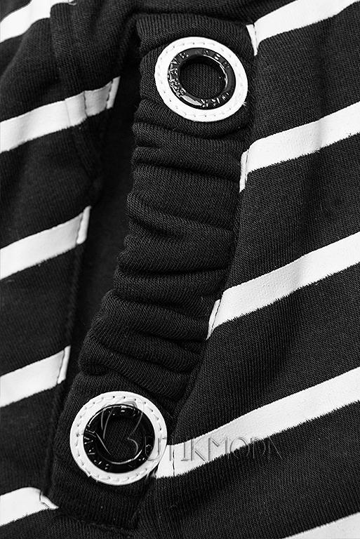 Sweatjacke in Streifenoptik schwarz