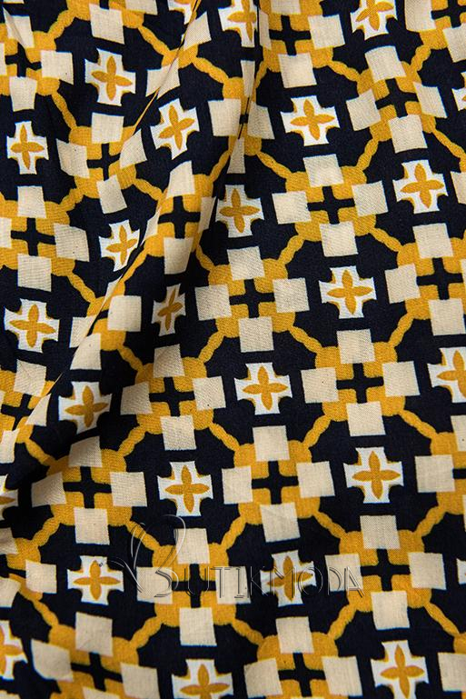 Shorts mit Alloverprint blau/gelb