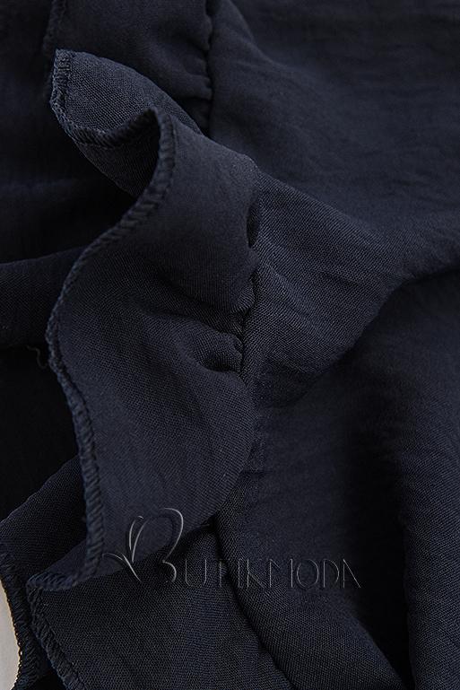 Top mit Volantdetails blau/weiß/khaki