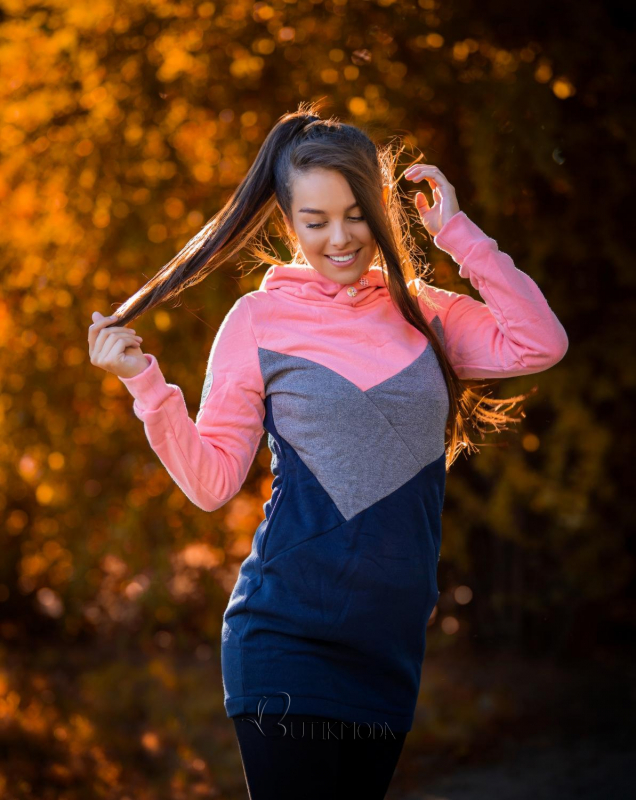 Verlängerte Sweatshirt mit Kapuze rosa/grau/blau