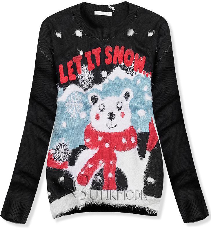 Pullover LET IT SNOW schwarz