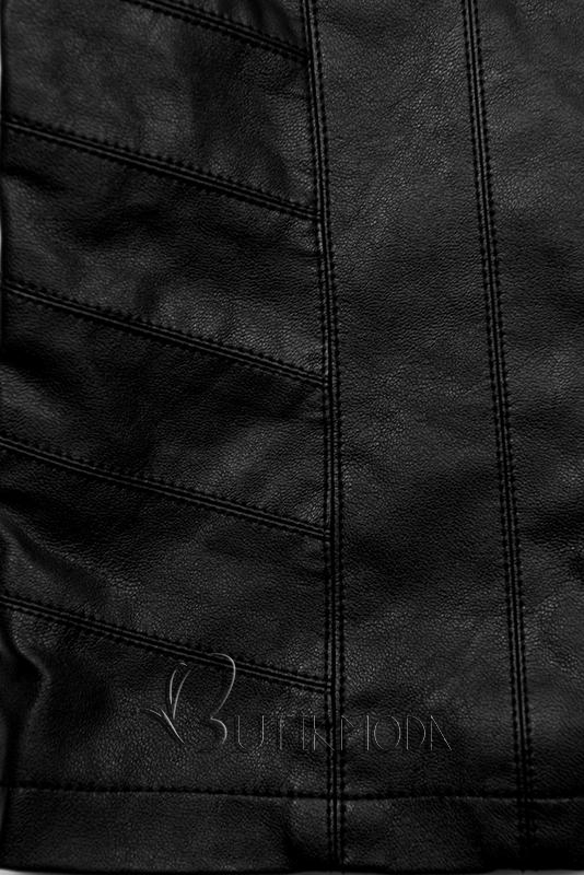 Kunstlederjacke mit Steppung schwarz