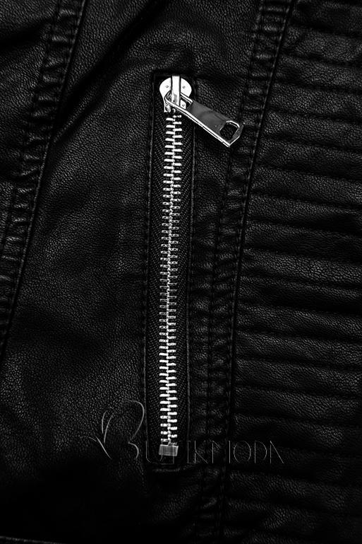 Gesteppte Kunstlederjacke schwarz