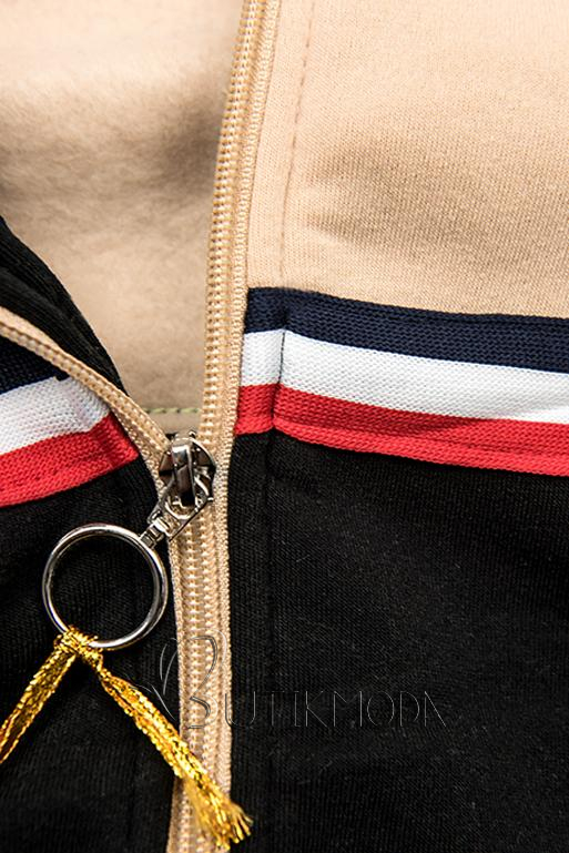 Verlängertes Sweatshirt schwarz / beige