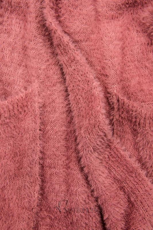 Lange Strickjacke rosa