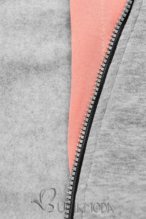 Kapuzensweatjacke in langer Form mit Zipper grau