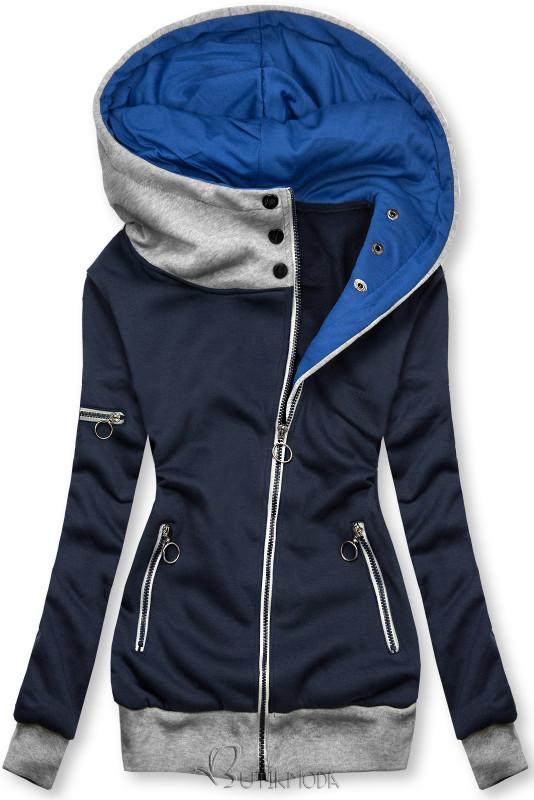 Kapuzensweatjacke in langer Form mit Zipper dunkelblau