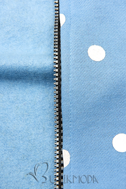 Kapuzensweatjacke mit Allover Punkte-Design hellblau