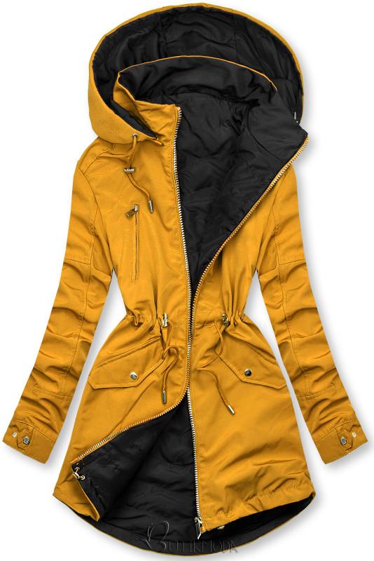 Wendejacke mit Kapuze gelb/schwarz