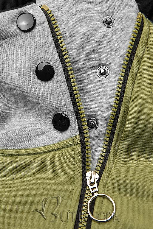 Kapuzensweatjacke in langer Form mit Zipper khaki