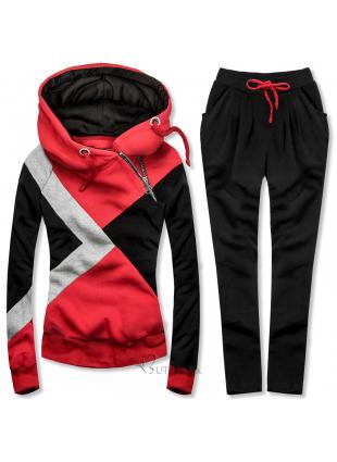 Dreifarbiger Trainingsanzug rot / schwarz / grau