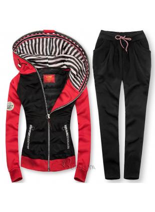 Trainingsanzug mit kombinierten Materialien rot/schwarz