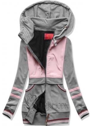 Sweatjacke mit Kapuze grau/rosa