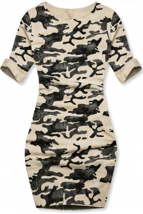 Lässiges Army Kleid vanille