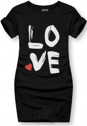 Tunikashirt mit Print LOVE schwarz