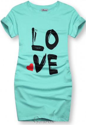 Tunikashirt mit Print LOVE türkis