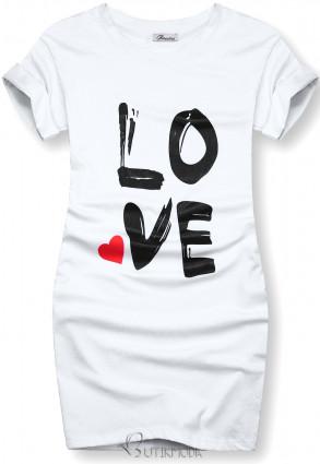 Tunikashirt mit Print LOVE weiß