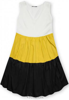 Kleid mit Color-Blocking-Optik gelb/schwarz