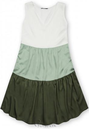 Kleid mit Color-Blocking-Optik mint/grün