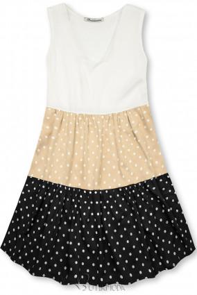 Kleid mit Punktedruck beige/schwarz